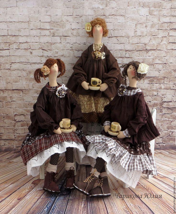 Купить Кофейные истории. Тильды в стиле бохо. - коричневый, тильда кукла, кукла в стиле Бохо