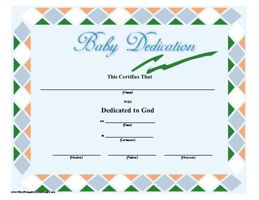 A Green, Blue, Orange, And White Bordered Baby Dedication Certificate  Suitable For. Printable ...  Baby Dedication Certificates Templates