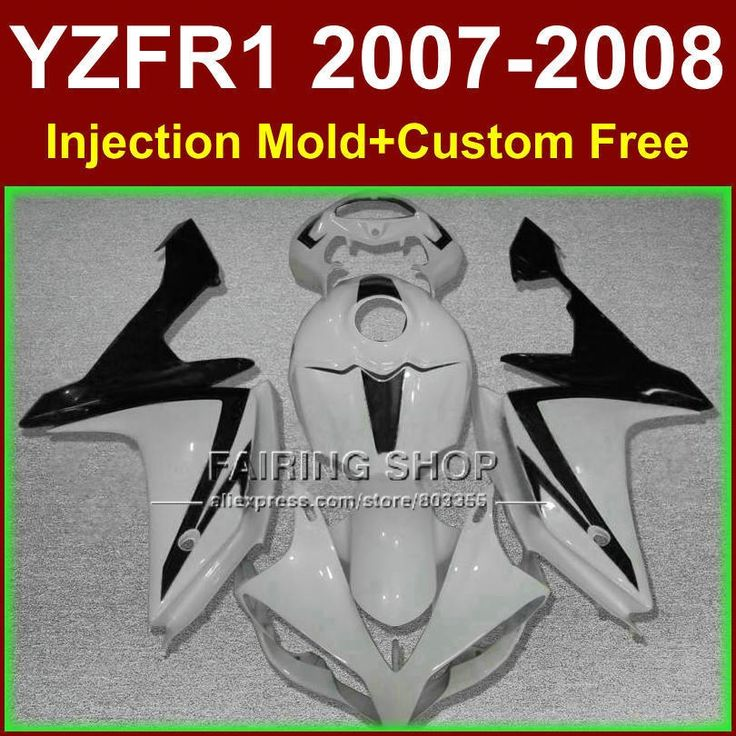 (427.80$)  Buy here - http://aidtr.worlditems.win/all/product.php?id=32382151620 - 100% Injection molding for YAMAHA YZFR1 2007 2008 R1 fairing set YZF R1 YZF1000 YZF 1000 07 08 simple white black  fairings kits