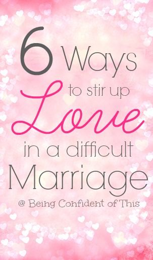 "Marriage is a lot of hard work. In a difficult marriage, often those ""lovin' feelings"" fade away! Here are 6 ways to stir up love and rekindle romance."