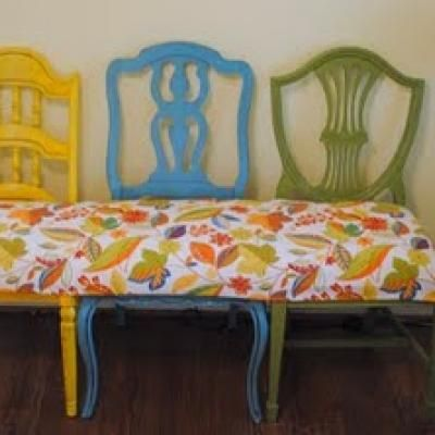 chairs, chairs, chairsDecor, Three Chairs, Ideas, Mismatched Chairs, Chairs Benches, Furniture, Old Chairs, Diy Benches, Crafts