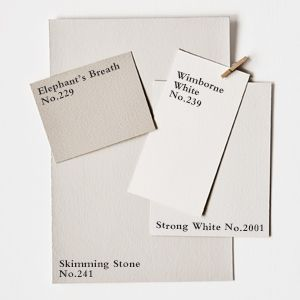 Farrow & Ball paint combo - Strong White for Kitchen Cabinets, maybe F&B Pigeon or French Grey for Island