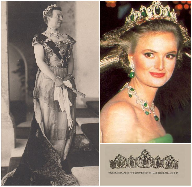 Thurn and Taxis Emerald Tiara: Gloria of Thurn and Taxis, after her husband's death made efforts to shore up the family finances & leave a legacy for her son. Many family jewels were sold, but this tiara survived. The piece has belonged to the Thurn and Taxis family since at least the mid-nineteenth century. It was made by Hancocks, a London jeweler, and included in a display of jewels at the 1866 Paris Exhibition. Gloria has worn it at society events in the years since the big sell-off.
