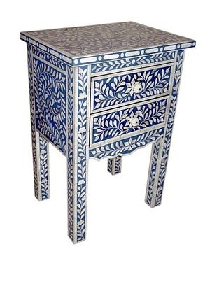 -56,800% OFF Mili Designs 2 Drawers Bone Inlay French Bedside, Blue/Cream