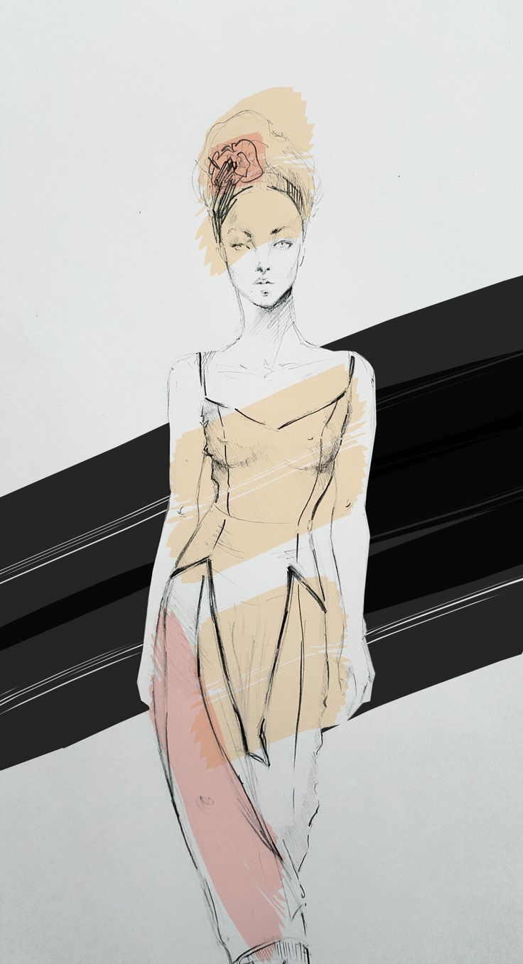 Fashion Sketch - Wearing pink 3 - Illustration by Beatrice Busco - Follow me on Instagram