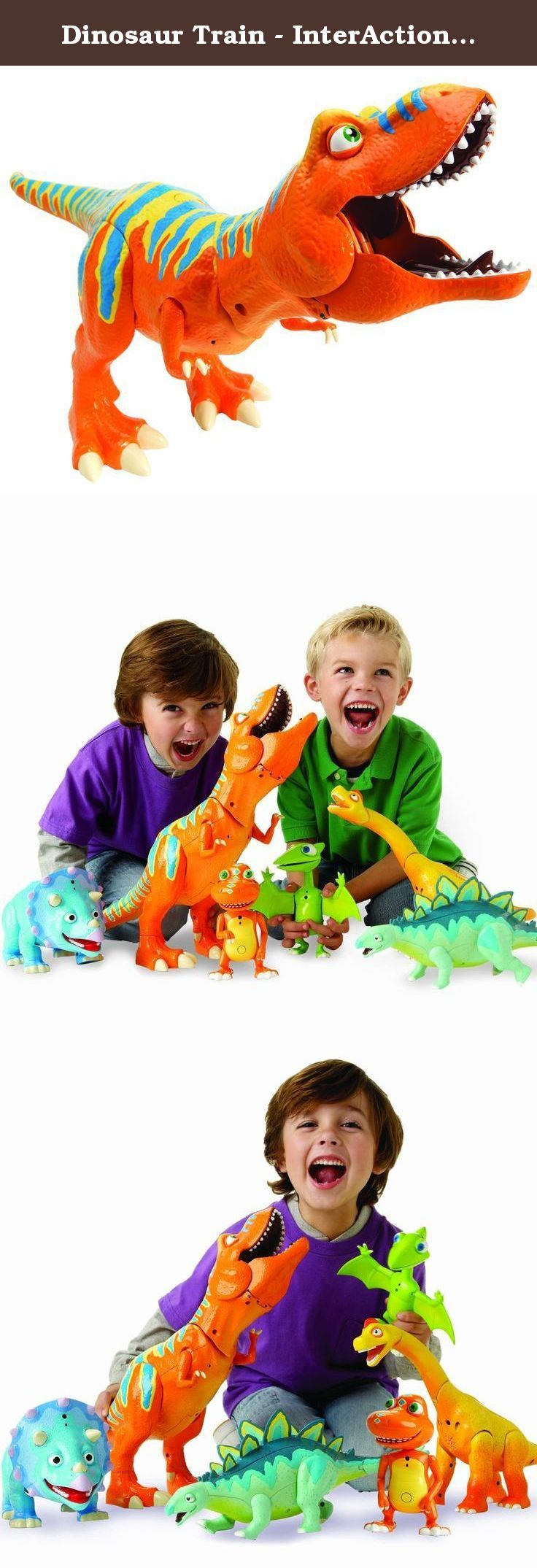 "Dinosaur Train - InterAction Roar 'N React Boris Tyrannosaurus Ultimate T-Rex. The large T-Rex Action Figure's interactive features include an IR Transmitter/Receiver, giving him the ability to recognize and interact with other dinos in the line, poseable arms, sounds/reactions in nose, forehead, and mouth. Two main features include a ""bite"" trigger, as well as a ROAR Position Trigger. Based on the Henson PBS show, Dinosaur Train is more than Dinosaur Play; it's a truly interactive…"
