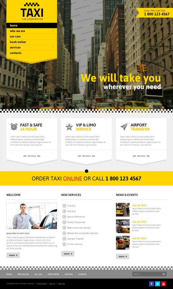 Taxi Cab Cooperative Service Bootstrap HTML Template by Dynamic Template, via Behance