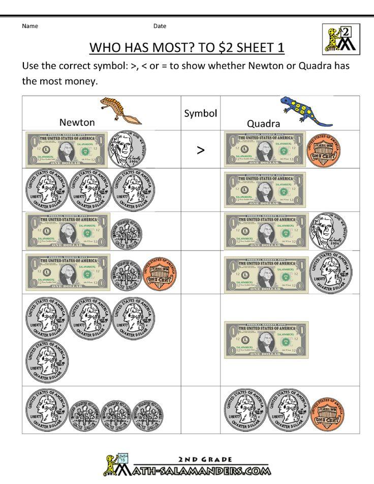 2nd Grade Money Worksheets up to 2 Money worksheets