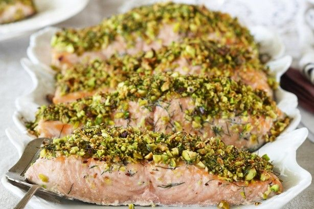 With a few simple ingredients and easy to follow steps, you can't go wrong cooking this delicious pistachio crusted salmon.