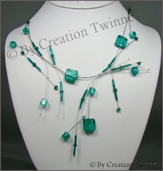 turquoise square glass necklace, bridesmaids necklace, delicate necklace, wedding jewelry, modern jewelry, funky jewelry, bridesmaids gifts. $49.50, via Etsy.