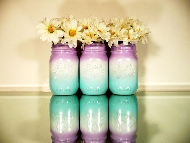 Painted Mason Jars - Vases - Home, Dorm, Office Decor - Ombre Purple, White, Aqua. $15.00, via Etsy.