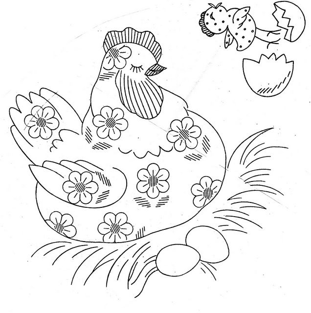 daisy chicken pattern to embroider on tea towels by kittykill, via Flickr
