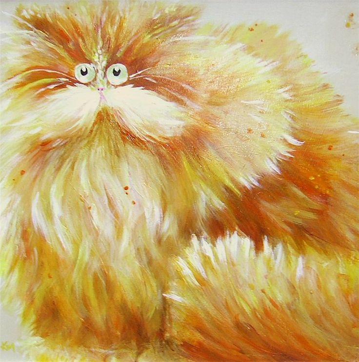 Прикольные, рисунок смешного кота пушистого