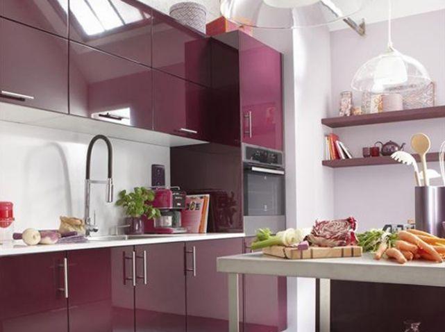 Cuisine aubergine leroy merlin cuisine kitchen for Deco cuisine aubergine
