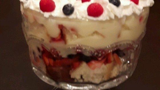 This dessert recipe came from a friend from England. It is delicious and elegant looking layered in a trifle bowl or individual dessert glasses.