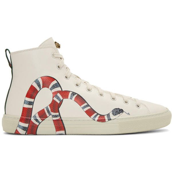 Gucci Off-White Snake Major High-Top Sneakers ($710) ❤ liked on Polyvore featuring men's fashion, men's shoes, men's sneakers, mens lace up shoes, mens rubber sole shoes, mens high top shoes, gucci mens sneakers and mens round toe shoes