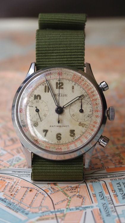 Made most famous by the World War II timepiece, the Chronodato, the Angelus Watch Company made innovative and quality watches from 1891 until the 1980s.