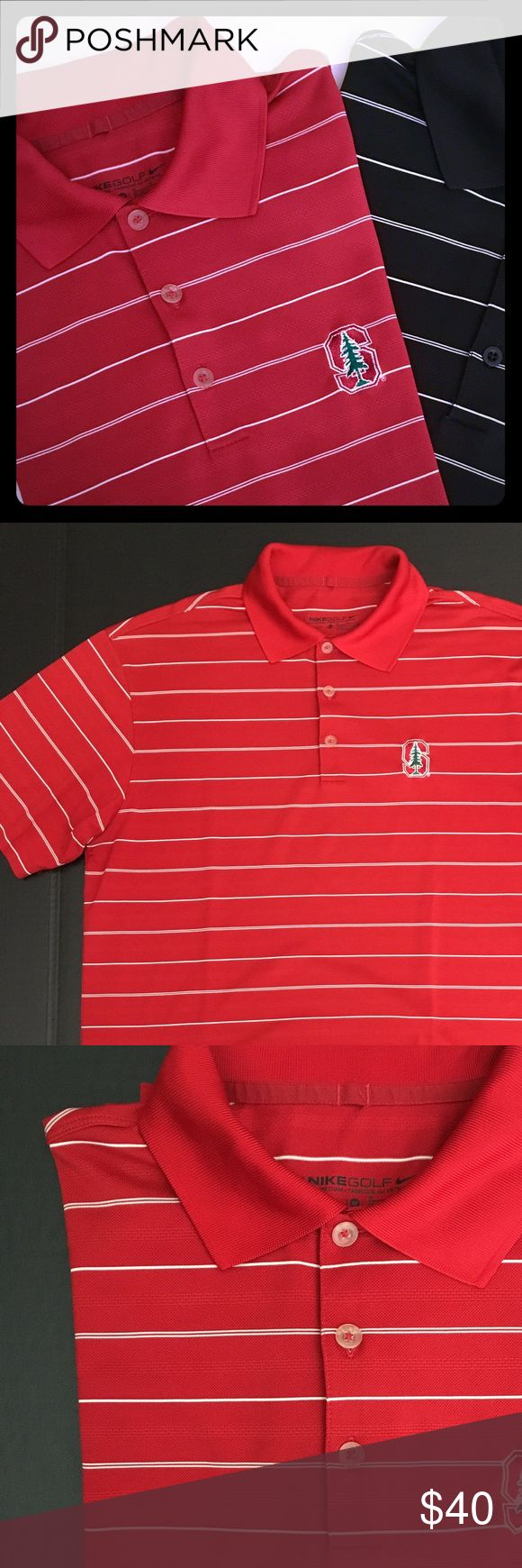 Set -Stanford Nike golf & plain Nike polo Set of two Men's Nike golf polo shirts. Red shirt has Stanford logo and white stripes. Black shirt is plain Nike golf polo with white stripes. Size Medium. In excellent condition. Shirts Polos