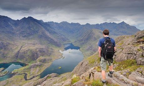 Towards the Black Cuillin ridge over Loch Coruisk from summit of Sgurr na Stri, Isle of Skye