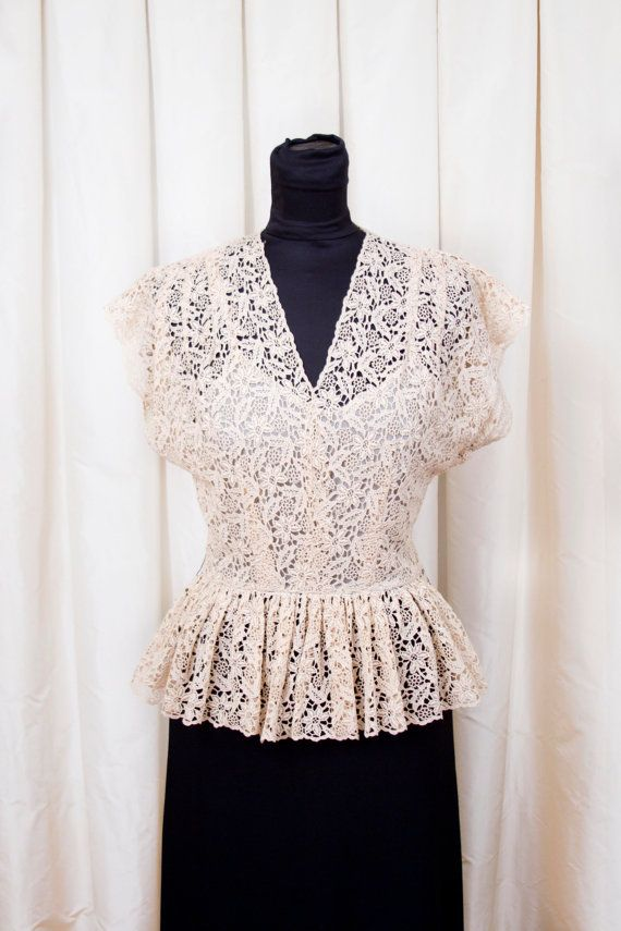 1940's Dress // Designer Ecru Lace Peplum Dress by Capri Originals on Etsy, $185.00