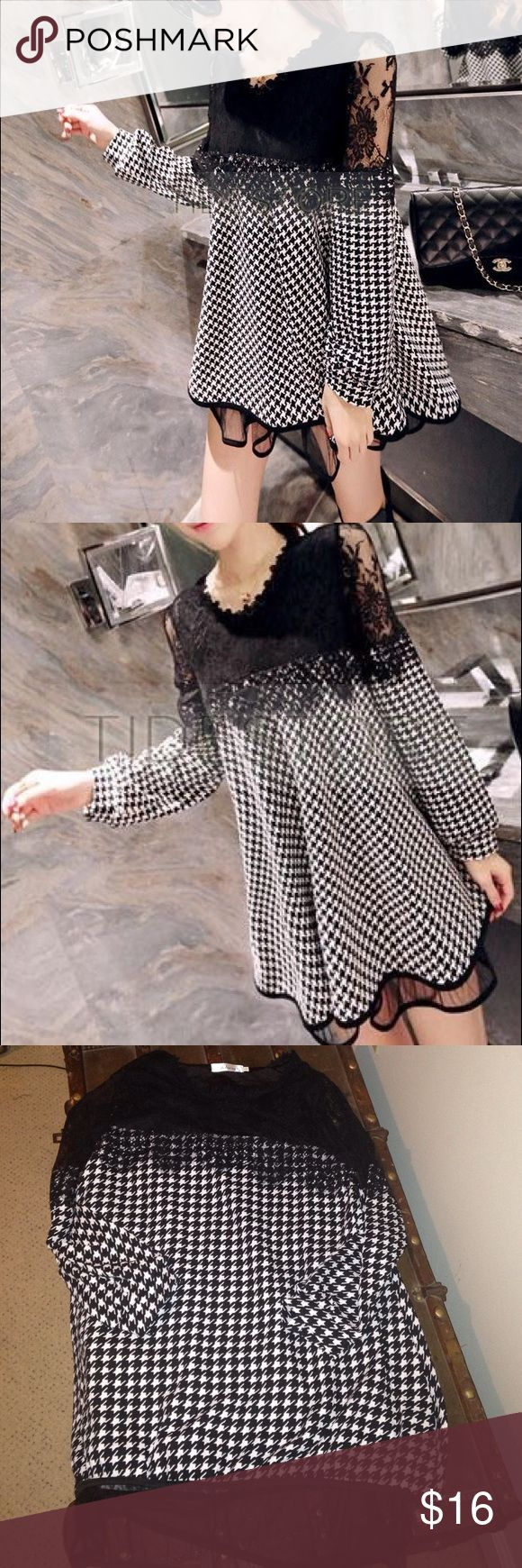 Lace Houndstooth Dress. 2 layers Women's Lace Houndstooth Dress Long Sleeve Lace Plaid Dress. New without tags. Size Large. Smoke and pet free home. Dresses