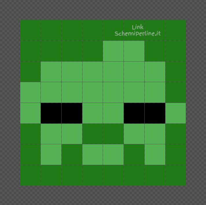 Lo Zombi Di Minecraft Schema Perline A Fusione Pyssla 8x8 Schemiperline It Minecraft Perline Zombie