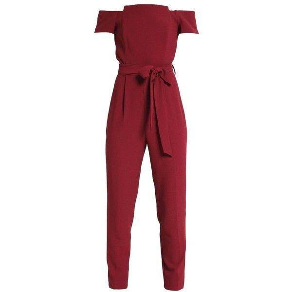 Miss Selfridge Petite Jumpsuit burgundy (5.360 RUB) ❤ liked on Polyvore featuring jumpsuits, miss selfridge, red jumpsuit, burgundy jumpsuit, jump suit and red jump suit