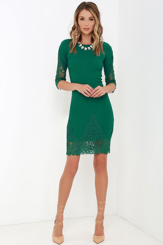 Give your look infinite appeal with the Myriad of Possibilities Green Lace Dress! A wide, rounded neckline dips at back and flows into three-quarter sleeves, finished with gorgeous swirling lace. Flattering darted bodice transitions into a midi-length, knit bodycon skirt with more lace detailing. Hidden back zipper with clasp.