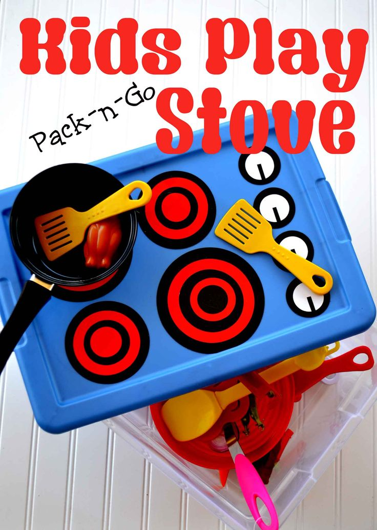 Make your own play stove for the kids to take using one of those plastic shoe tubs and some stickers. Pink Cake Plate.com