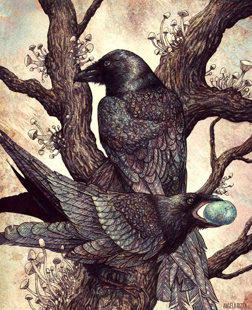 WŪYĀ  [noun]   Chinese: 乌鸦 – crows/ravens; any of several other birds of the family Corvidae.  [Angela Rizza]