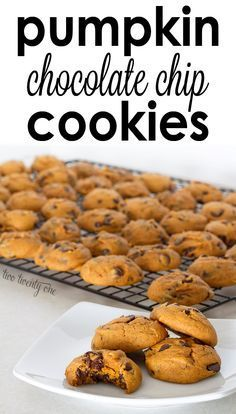 Pumpkin chocolate chip cookies. I swapped the vegetable oil with coconut oil. Kids and I loved them!