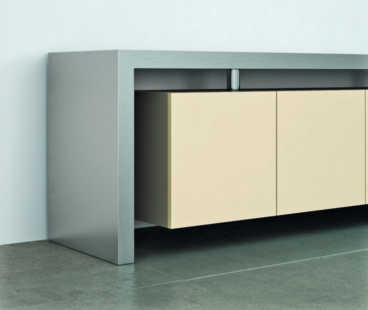 MOVIMENT-0 Line, Model 55; #credenza with lacquered MDF #wooden frame, main body in lacquered MDF #wood with #metal doors. Ronda Design.