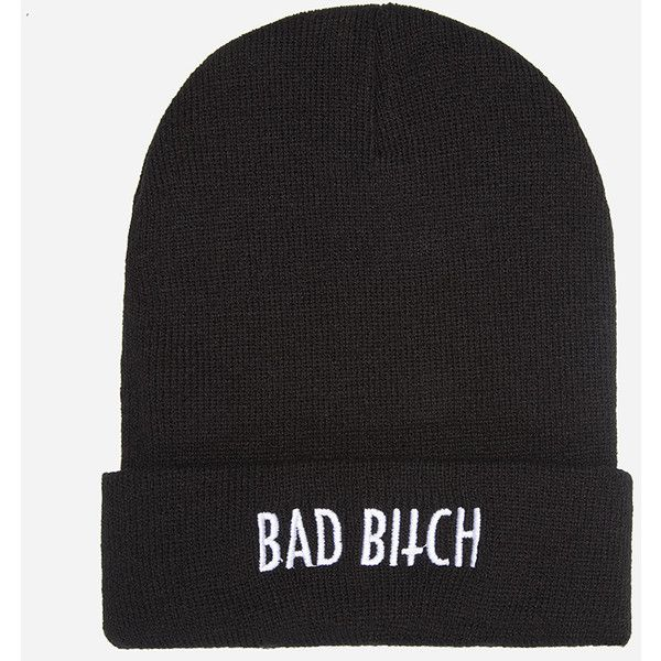Kill Brand Bad Bitch Beanie ($39) ❤ liked on Polyvore featuring accessories, hats, beanies, gorritos, white beanie, white hat, kill brand, white beanie hat and black white hat