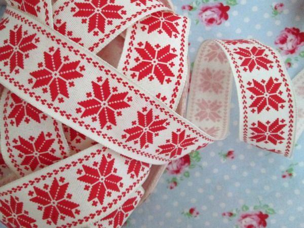 Red And Ivory Scandinavian Nordic Snowflake Wired Ribbon Christmas Wired Ribbon Christmas Ribbon Nordic Snowflake