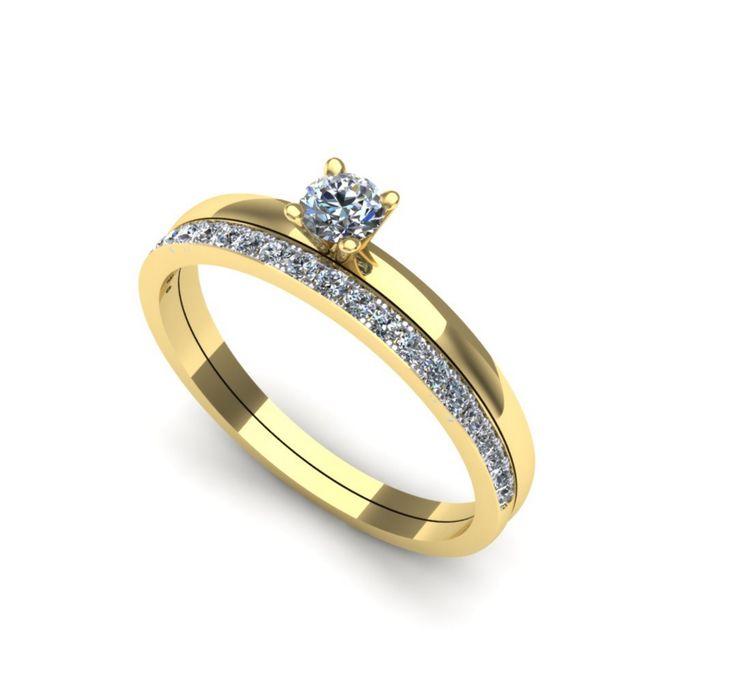 Inelul este format din: Piatra principala: diamant 1buc x ~3.20mm - greutate: ~0.12ct; Pietre secundare: diamante 18buc x ~1.30mm - greutate totala: ~0.18ct