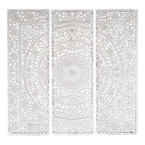 ANDAMAN wooden triptych in white 150 ...