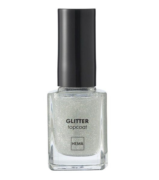 nagellak topcoat glitter - HEMA // Topcoat met fijne, iriserende glitters