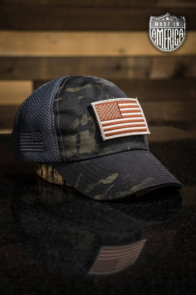 Dark American Made Mesh Back Hat With Patch Hats For Men Hats Nine Line Apparel