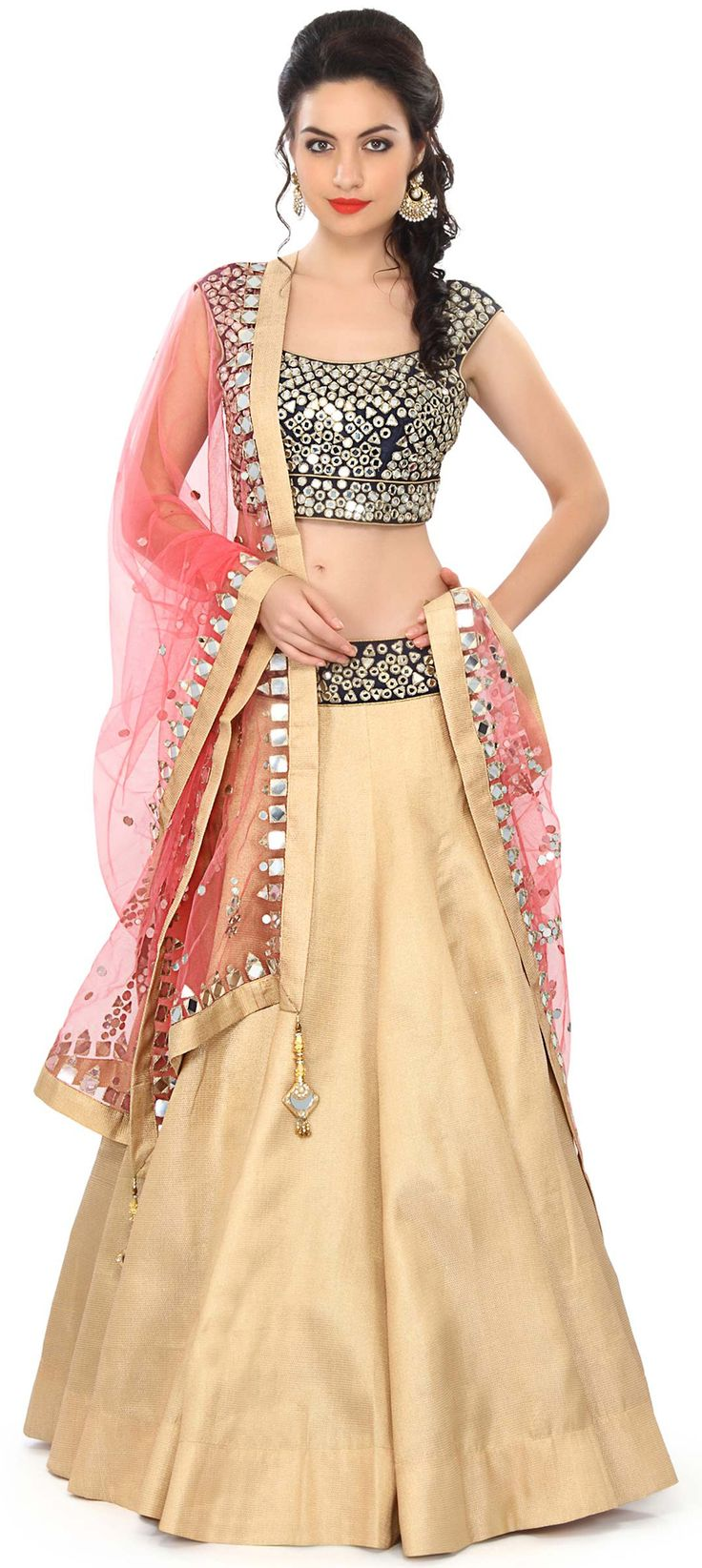 Buy Online from the link below. We ship worldwide (Free Shipping over US$100) Price - $379.00 Click Anywhere to Tag  http://www.kalkifashion.com/gold-lehenga-embellished-in-mirror-and-zari-embroidery-only-on-kalki.html