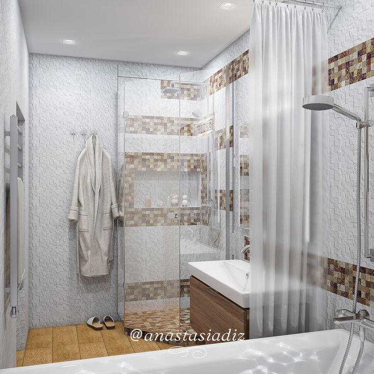 Светлые тона керамики на стенах создают эффект стерильной чистоты, а тёмные участки её оттеняют, контрастируют. Ниша под косметику в душевой кабине смотрится гармонично, неся при этом роль сугубо эргономическую. Матовая полупрозрачная занавеска у ванной придаёт интерьеру лёгкую интригу, вносит элемент приятного волнения. #русскиедизайнеры #инстаграм #стиль #красота #дизайнстудия #дизайнпроект #дизайнквартиры #дизайндома #дизайнер #дизайн #студия #интерер #проект #bestinterior #interiorlover…