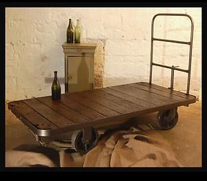 Vintage Industrial Trolley Cart Coffee Table Storage