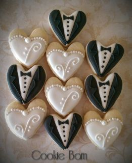"""This set consists of 25 mini bits size wedding cookies.  Mini cookies are 1""""-1.5"""" in size.     Custom cookies make great edible party favors for your next event. I take custom orders to create that unique personalized gift for someone special. Packages can be customized with different color combinations to fit your occasion.     We are continually adding new cookie cutters to my party supplies so if you do not see what your looking for just ask.    We hand make each cookie order from…"""