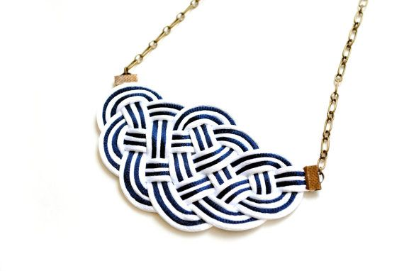 Big Sailor's Knot Necklace - white and navy satin cords - nautical style on Etsy, $29.00
