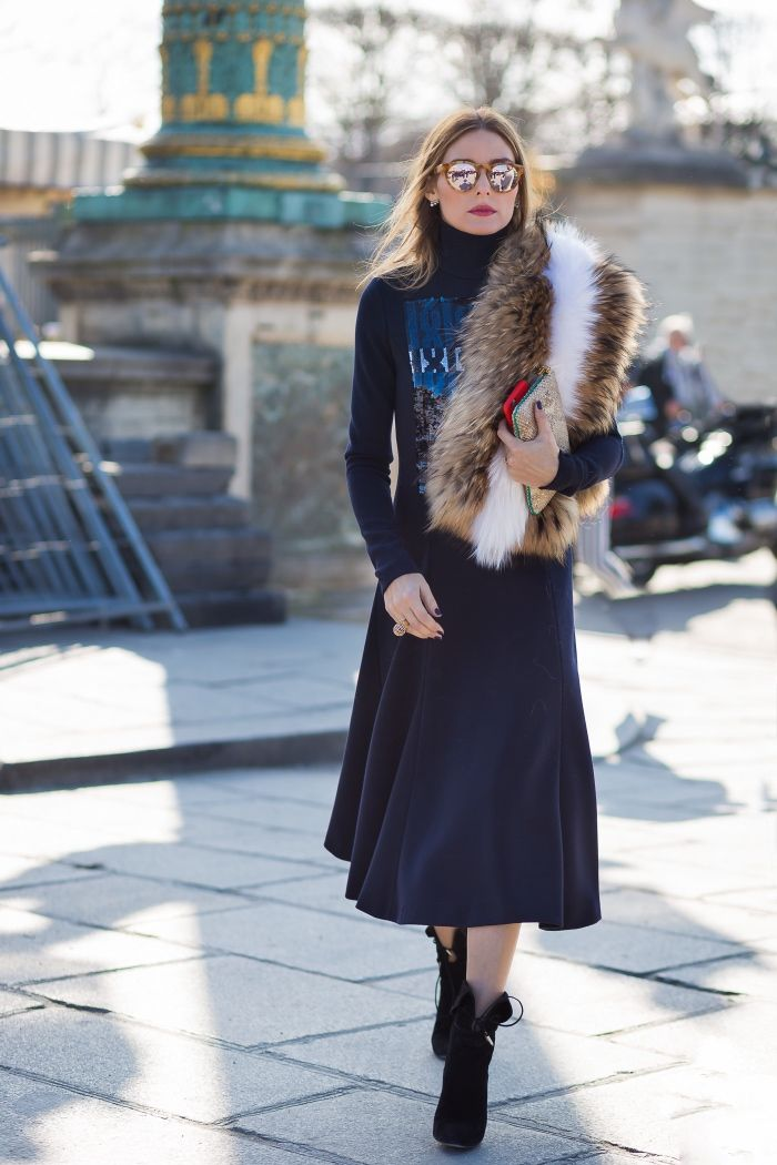 One of our favorites Olivia Palermo fabulous in this navy wool Dior dress, AQUAZZURA booties and Westward \\ Leaning Voyager 9 shades at ‪#‎PFW‬