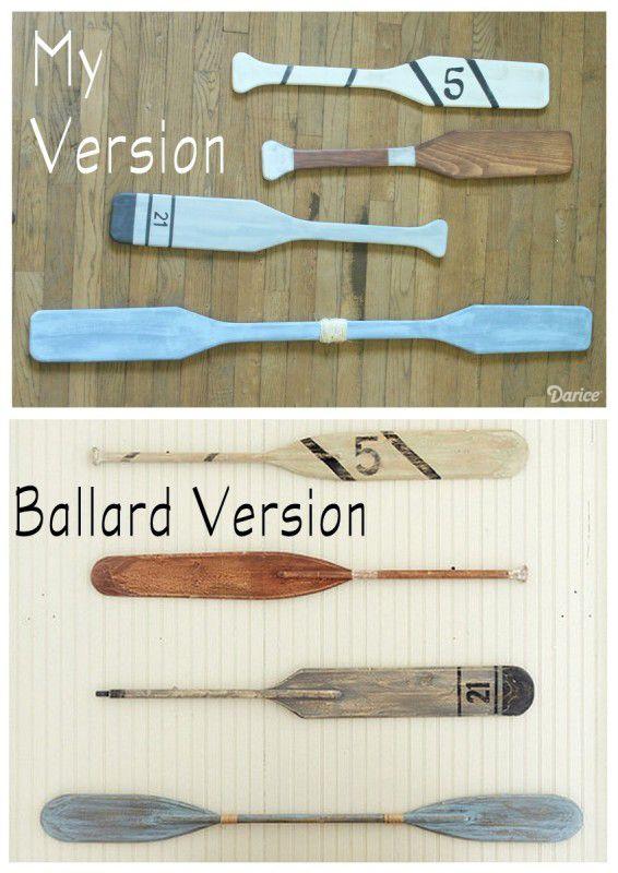 Ballard Designs knock-off vintage wooden oars using DecoArt Americana acrylics.