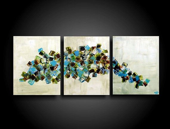 Large Abstract Painting Modern Painting Wall Art by therawcanvas