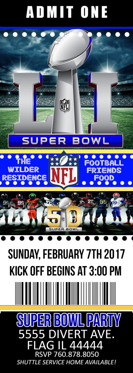 Super bowl party invitation ticket - Pink Nerd Printables super bowl 51, super bowl 2017
