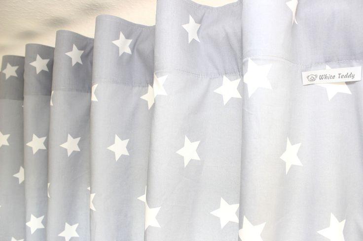 Gardinen & Vorhänge - Vorhänge ★ Maxi Sterne ★ grau/weiss 140 x 240 - ein Designerstück von WhiteTeddy bei DaWanda