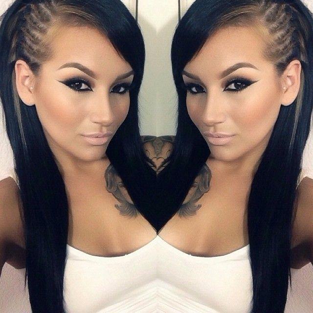 Side braid / make up super cute!! I love it!!