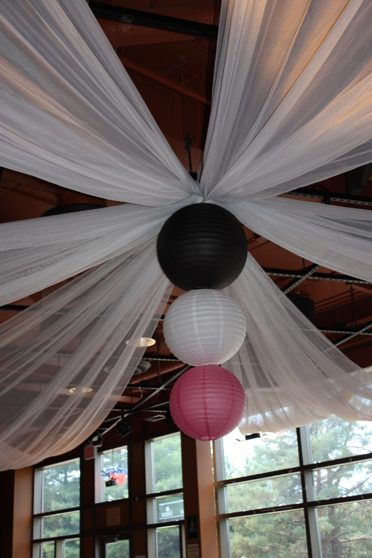 Ceiling Decorations For Bedroom: Ceiling Drape With Paper Lanterns